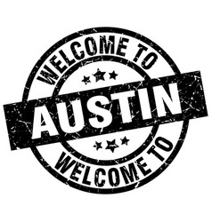 welcome to austin black stamp vector image
