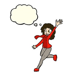 Cartoon woman waving dressed for winter with vector