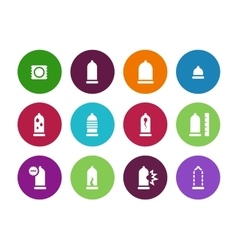 Condom pack circle icons on white background vector