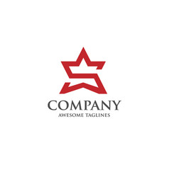 creative letter s star logo vector image