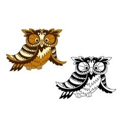 Funny cartoon owl bird in outline style vector image