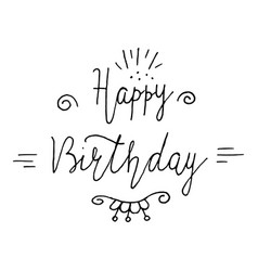 happy birthday lettering holiday text and vector image