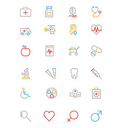 Medical Colored Outline Icons 1 vector image