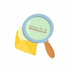Open yellow envelope and magnifying glass icon vector image