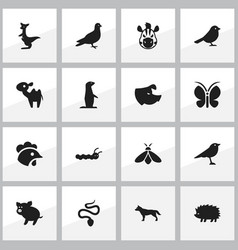 set of 16 editable nature icons includes symbols vector image vector image