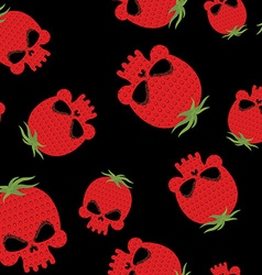 Strawberry skull seamless pattern Red head vector image vector image