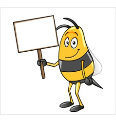 bee holding a blank sign vector image vector image