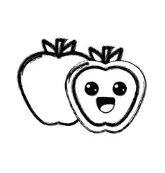 contour kawaii cute happy apple fruit vector image