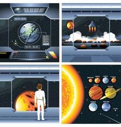 Digital silver cosmos ship icons vector image