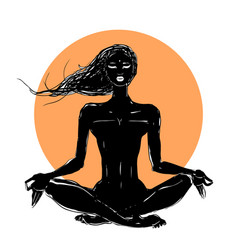 beautiful girl in yoga pose vector image