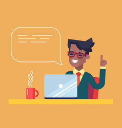 black man working on his laptop and giving advice vector image