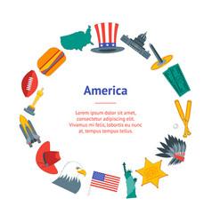 cartoon symbol of america banner card circle vector image vector image
