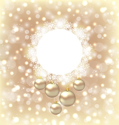 Christmas round frame made in snowflakes and vector image vector image