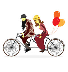 couple of cyclists on tandem bicycle vector image