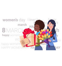 cute girls holding gift box and bouquet of flowers vector image
