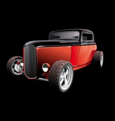 red hot rod on black vector image vector image