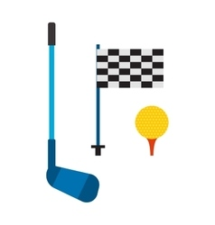 Set of golf club tee and ball sport leisure vector image vector image
