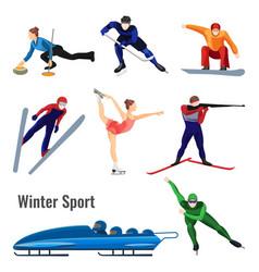 set of winter sport activities vector image