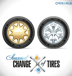 Tire Change Winter and Summer Wheels for the Car vector image vector image