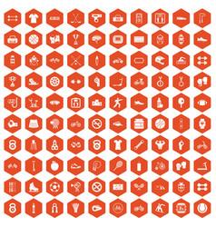 100 sport icons hexagon orange vector