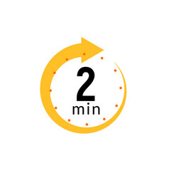 2 minutes clock quick number icon 2min time vector image