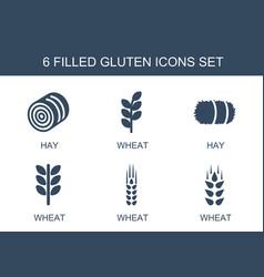 6 gluten icons vector