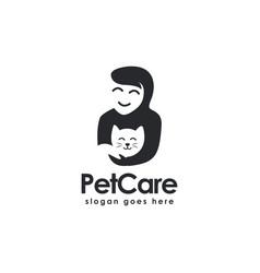 A woman hug cat pet care logo icon template vector