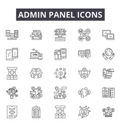 Admin panel line icons editable stroke signs vector