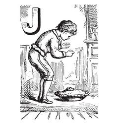 Alphabet j jumped for it vintage vector