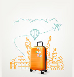 around the world concept with travel bag vector image