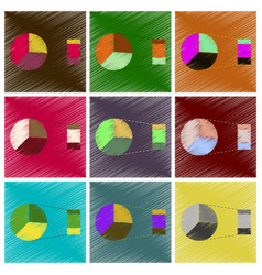 Assembly flat shading style icons pie chart vector