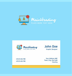 avatar on monitor logo design with business card vector image