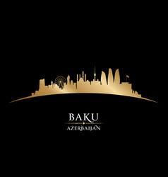 Baku azerbaijan city skyline silhouette black vector