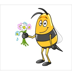 bee holding flowers vector image
