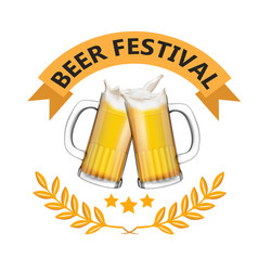 beer festival ribbon two mugs of beer image vector image