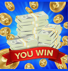 big winner background gold coins jackpot vector image
