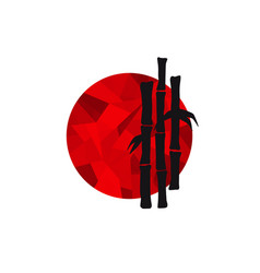 black bamboo silhouette on red low poly circle vector image