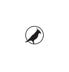 Black bird raven silhouette on circle logo design vector