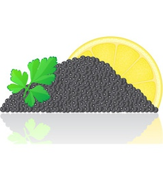 Black caviar with lemon vector