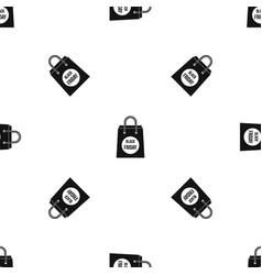 Black friday shopping bag pattern seamless black vector
