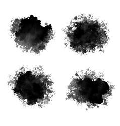 Black ink drops watercolor abstract splatters vector