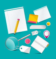 Blank notebook papers and office items stationery vector