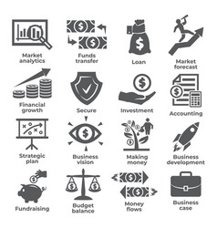 Budget and finance icons on white background vector