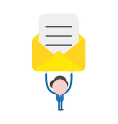 businessman character holding up open mail vector image