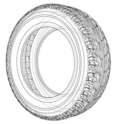 car tire concept rendering of 3d vector image