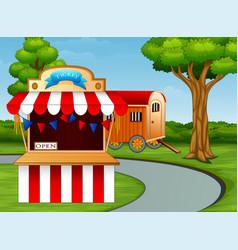 Cartoon of amusement park entrance on the roadside vector