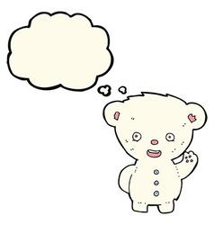 Cartoon waving polar bear cub with thought bubble vector