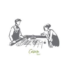 Casino woman game poker gamble concept vector