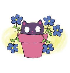 Cat flower circuit vector