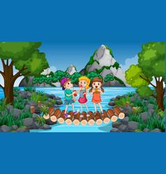 Children at ourdoor nature background vector